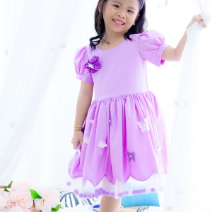Butterfly Princess Dress ชุดเดรสเด็กสีม่วง