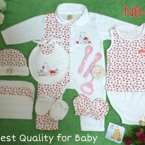 เซทเด็กเล็ก 12 ชิ้น สีขาวแดง ไซส์ 0-3 เดือน