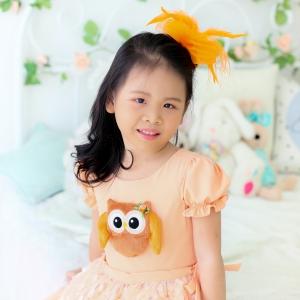 Lovely Owl Dress ชุดเดรสเด็กสีส้ม