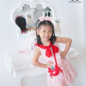 Lovely Crab Dress ชุดเดรสเด็กสีแดง