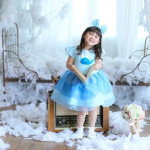 Whale Dress ชุดเดรสเด็กสีฟ้า