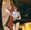 388 ชุดว่ายน้ำ เสื้อกล้ามเอวลอยสีขาวสกรีนอักษร กางเกงสีดำ thumbnail 12