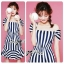 Lady Jenny '50s Style Mixed Striped Dress thumbnail 1
