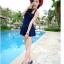 SM-V1-370 ชุดว่ายน้ำวันพีช สีน้ำเงินกรมท่า สายคล้องคอ กระโปรงระบายสวยๆ thumbnail 2