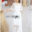 Lady Veronica White Guipure Lace Cropped Top and Maxi Skirt Set L273-8505 thumbnail 4