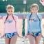 SM-V1-636 ชุดว่ายน้ำแขนยาว เสื้อสีชมพู กางเกงลายสวย thumbnail 1