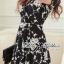 DR-LR-216 Lady Stella Femme Fatale Rose Print Dress thumbnail 10