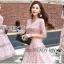 Lady Carly Feminine Pinky Striped Lace Maxi Dress L268-7902 thumbnail 7