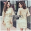 Kate Royal Sweet Gold Floral Embroidered Button-Down Tulle Dress L272-85031 thumbnail 7