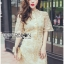 Kate Royal Sweet Gold Floral Embroidered Button-Down Tulle Dress L272-85031 thumbnail 11