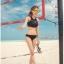 SM-V1-597 ชุดว่ายน้ำบิกินี่ทูพีช สีดำ เสื้อกล้ามซีทรูสวย thumbnail 6