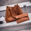 Fashion Bag กระเป๋าเป้ กระเป๋าสะพายข้างสีดำ กระเป๋าเซต 2 ใบ No.0111 - Brown (รหัสสินค้า 2AHI0RK) thumbnail 5
