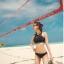 SM-V1-597 ชุดว่ายน้ำบิกินี่ทูพีช สีดำ เสื้อกล้ามซีทรูสวย thumbnail 5