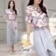 Daisy Green floral fabric blugrish set thumbnail 1