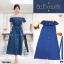 Dress เดรสปาดไหล่ผ้ายีนส์ฟองสี เดรสผ้ายีนส์ฟองสีช่องหน้าอกแต่งระบาย thumbnail 1
