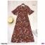 Maxi Dress เดรสผ้าโรนัลโด้คอวีปาดเฉียง พิมพ์ลายดอกไม้ thumbnail 7