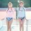 SM-V1-636 ชุดว่ายน้ำแขนยาว เสื้อสีชมพู กางเกงลายสวย thumbnail 10