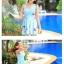 SM-V1-397 ชุดว่ายน้ำทรงชุดแซก สีฟ้าสวยลายน่ารัก เซ็ต 2 ชิ้น ชุดแซก+บิกินี่ thumbnail 6