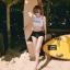 388 ชุดว่ายน้ำ เสื้อกล้ามเอวลอยสีขาวสกรีนอักษร กางเกงสีดำ thumbnail 14