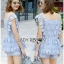 Lady Sophie Sweet Casual Baby Blue Lace Top and Shirts Set L251-89C02 thumbnail 11