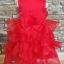 GD029 ชุดเดรสสีแดงสดใส เสื้อประดับดอกไม้ กระโปรงระบาย 4 ชั้น thumbnail 3