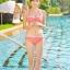 SM-V1-364 ชุดว่ายน้ำเซ็ต 3 ชิ้น สีส้มลายจุดขาว น่ารักๆ (บรา+บิกินี่+กระโปรง) thumbnail 9