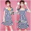 Lady Jenny '50s Style Mixed Striped Dress thumbnail 2