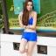 SM-V1-371 ชุดว่ายน้ำเซ็ต 4 ชิ้น สีน้ำเงินสวย บรา+บิกินี่ เสื้อคลุม+กางเกงขาสั้น thumbnail 2