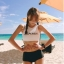 388 ชุดว่ายน้ำ เสื้อกล้ามเอวลอยสีขาวสกรีนอักษร กางเกงสีดำ thumbnail 9