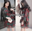 Lady Amanda Dramatic Burgundy Floral Printed Flared-Sleeve Dress L239-69C10 thumbnail 15
