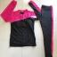 SM-V1-440 ชุดว่ายน้ำแขนยาวขาวยาว เซ็ต 2 ชิ้น เสื้อกับกางเกง สีดำแต่งขอบชมพูบานเย็น thumbnail 7