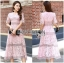 Lady Carly Feminine Pinky Striped Lace Maxi Dress L268-7902 thumbnail 1