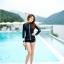 SM-V1-577 ชุดว่ายน้ำแขนยาวซิปหน้า กางเกงขาสั้น สีดำแต่งขอบขาว thumbnail 2