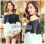 Lady Stella Minimal Monochrome Off-Shoulder Cotton Long Top L259-5919 thumbnail 1