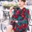 Lady Amanda Dramatic Burgundy Floral Printed Flared-Sleeve Dress L239-69C10 thumbnail 9