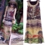 Vintage printed o neck sleeveless chic dress