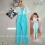 จั้มสูทแขนตุ๊กตาสีฟ้าสดใส จั้มสูทคอกว้างแต่งผ้าลูกไม้ thumbnail 1