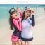 SM-V1-578 ชุดว่ายน้ำแขนยาว กางเกงขาสั้นสีชมพูบานเย็นสวย ๆ thumbnail 4