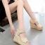 Korea Style รองเท้าส้นเตารีดคุณภาพดี เป็นลูกไม้ thumbnail 1