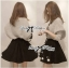 Lady Owl Fur Sweater and Flower Embellished Skirt Set thumbnail 2