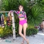 SM-V1-539 ชุดว่ายน้ำแขนยาว ลายดอกไม้ สีชมพูสดใส thumbnail 4
