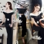 Fashion style black and white color Short strapless wide leg pants, high waist by Aris Code thumbnail 1
