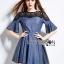 Lady Stella Smart Casual Black Lace and Denim Dress L255-79C12 thumbnail 2