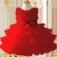 GD029 ชุดเดรสสีแดงสดใส เสื้อประดับดอกไม้ กระโปรงระบาย 4 ชั้น thumbnail 1