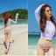 SM-V1-650 ชุดว่ายน้ำแขนยาว สีม่วงพาสเทล บิกินี่ลายสวย thumbnail 3