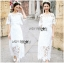 Lady Veronica White Guipure Lace Cropped Top and Maxi Skirt Set L273-8505 thumbnail 5