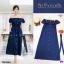 Dress เดรสปาดไหล่ผ้ายีนส์ฟองสี เดรสผ้ายีนส์ฟองสีช่องหน้าอกแต่งระบาย thumbnail 3