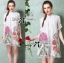 Lady Claire Flower Embroidered Organza and Cotton Shirt Dress L201-75C11 thumbnail 2