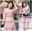Lady Carly Feminine Pinky Striped Lace Maxi Dress L268-7902 thumbnail 4