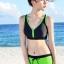 SM-V1-591 ชุดว่ายน้ำสไตล์สปอร์ต เสื้อกล้ามสีดำตัดขอบเขียว กางเกงขาสั้นสีเขียวสดใส thumbnail 6
